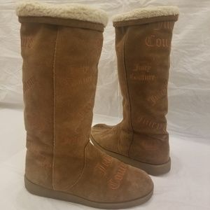 💕Juicy Couture tan logo suede boots. size 9